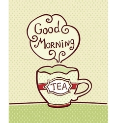 Card with cup of tea on textured background vector image
