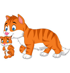 cartoon cat carrying her baby vector image