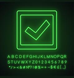 checkbox neon light icon vector image