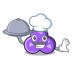 Chef with food trefoil mascot cartoon style vector