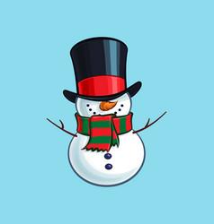 christmas cartoon icon - smiling snowman vector image