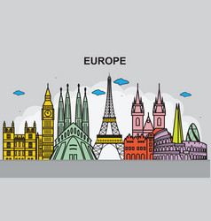 city in europe cityscape skyline travel vector image