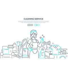 cleaning service - modern line design style web vector image
