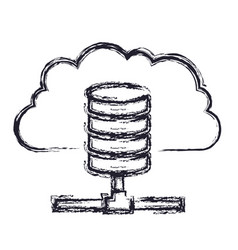 Cloud and network server storage icon in blurred vector