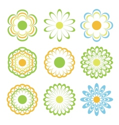 colored flowers set eps8 vector image