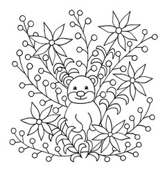 Coloring page with groundhog and flowers vector