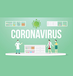 Coronavirus concept with doctor and nurse with vector