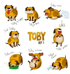 Cute cartoon dog toset 1 vector