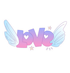 cute cartoon love concept love lettering with vector image
