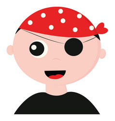 Cute pirate wearing a red bandana with white vector