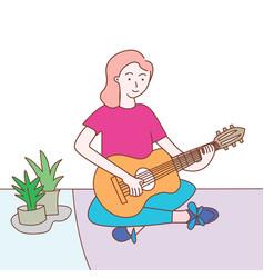 Cute women playing guitar design vector