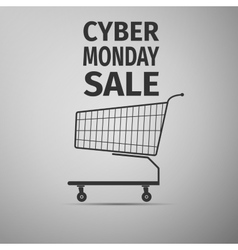 Cyber Monday sale Shopping cart flat icon on grey vector image