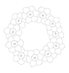 daffodil - narcissus flower outline wreath vector image