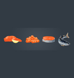 delicious tuna fish salmon fillet with lemon vector image