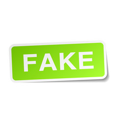 Fake green square sticker on white background vector
