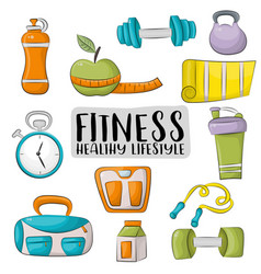 fitness and healthy lifestyle icons set colorful vector image