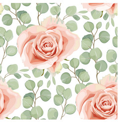 floral seamless pattern with creamy rose and vector image