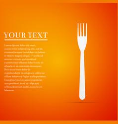 fork flat icon on orange background vector image