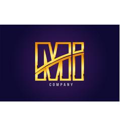 Gold golden alphabet letter mi m i logo vector