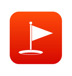 golf flag icon digital red vector image