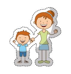 Happy family members icon vector