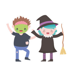 happy halloween kids with zombie and witch vector image