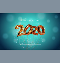 happy new year copper 3d balloon number card vector image