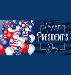 happy presidents day poster with flying balloons vector image