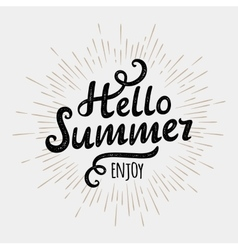 Hello summer typographic inscription on vintage vector image