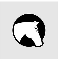 Horse head logo black and white color vector