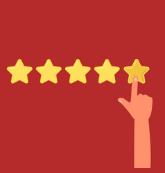 human hand leaving a review five stars cartoon vector image