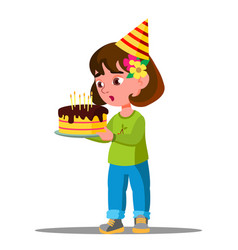 Kid blowing out candles on holiday cake vector