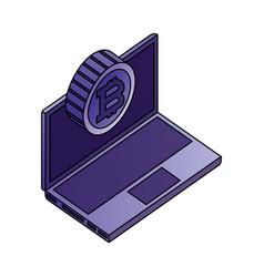 laptop computer bitcoin network data vector image