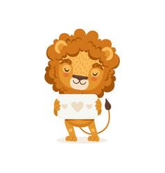 lion cartoon character wearing vector image