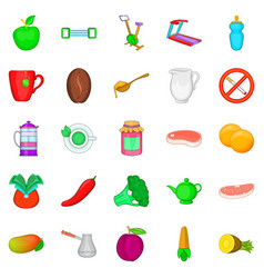 Low calorie food icons set cartoon style vector