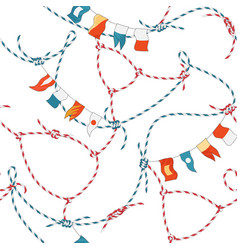 marine seamless pattern with rope knot and flags vector image