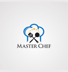 Master chef with head and little star concept vector