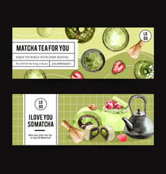 Matcha sweet banner design with donut teapot cake vector