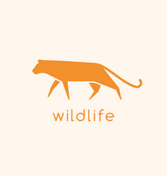 Modern logotype with silhouette wild cat logo vector