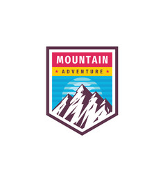 mountain adventure - concept logo badge vector image