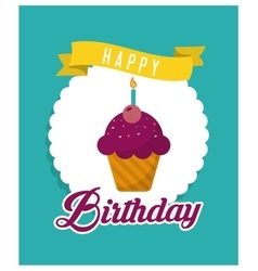 muffin happy birthday design vector image