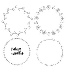 nature wreaths set of black vector image