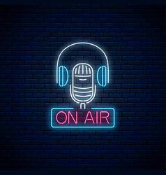 neon on air sign with microphone and vector image