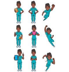 Nurse indian female set vector