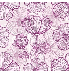 Ornate poppy flowers seamless pattern vector image