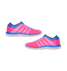 Pair pink athletic shoes fitness and sports vector