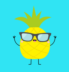 Pineapple fruit icon leaf wearing glasses hands vector