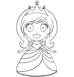 Princess Coloring Page 1 vector image