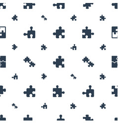 Puzzle icons pattern seamless white background vector