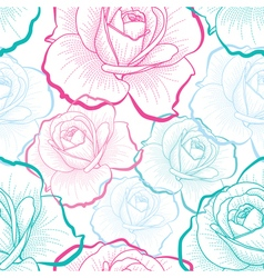 Red green blue outline roses on white seamless vector
